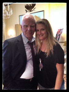 with the incomparablele Malcolm McDowell on the set of Mozart in the Jungle